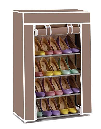 Vinsani - Zapatero de lona con 5 niveles para fiestas, gimnasio, trabajo, zapatos y calzado, color marrón
