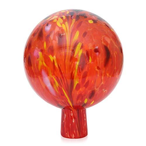 Lauschaer Glas Gartenkugel Rosenkugel aus Glas mit Granulat tomatenrot d 12cm mundgeblasen handgeformt