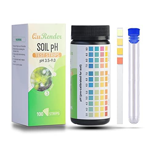 QuRender Soil PH 100 Test Strips Kit+ Clear Plastic Test...