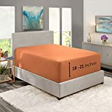 """Nestl Fitted Sheets Twin XL Size – Premium 1800 Microfiber Fitted Bed Sheets 19-24"""" Deep Pocket Breathable and Fade Resistant (Rust Sienna)"""