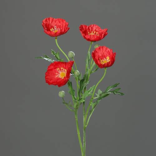 mucplants Künstlicher Mohnblumenzweig ca. 90cm Seidenblumen Kunstblume Mohn