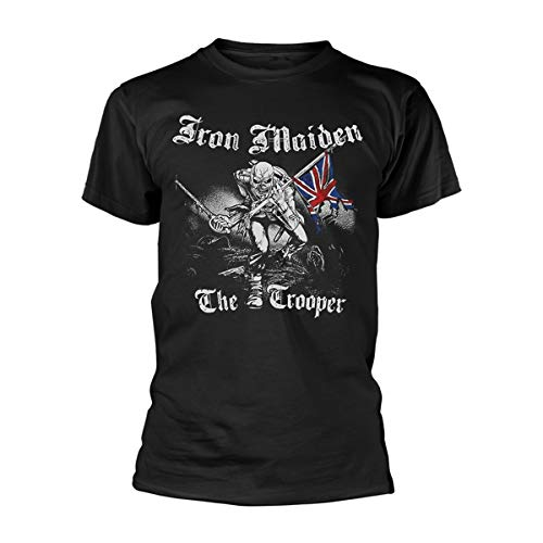 Rocks-off Herren Iron Maiden Sketched Trooper T-Shirt, Schwarz - Schwarz, Small