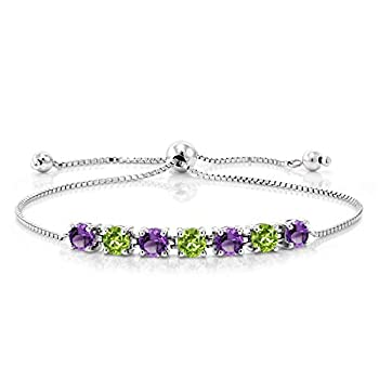 Gem Stone King 925 Sterling Silver Purple Amethyst and Green Peridot Tennis Adjustable Bracelet For Women 2.67 Ct Round Cut