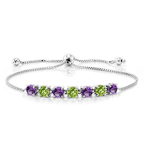 Gem Stone King 925 Sterling Silver Purple Amethyst and Green Peridot Tennis Adjustable Bracelet For Women, 2.67 Ct Round Cut