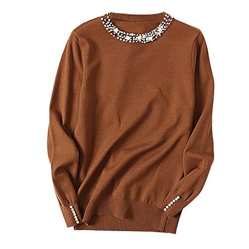 Jersey de Punto para Mujer Casual Invierno PAOLIAN Jerséis Suéter Otoño Fiesta Fino Cuello Redondo Camisetas para Mujer Manga Basicas Elegante con Perlas Top Tejido Vestir (Ropa)
