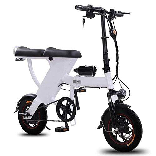 Thumby Elektro-Bike, 12 Zoll E-Bike 48V 25Ah Folding Fahrrad Höchstgeschwindigkeit 35 kmh for Pendler Stadt, Weiss jianyu