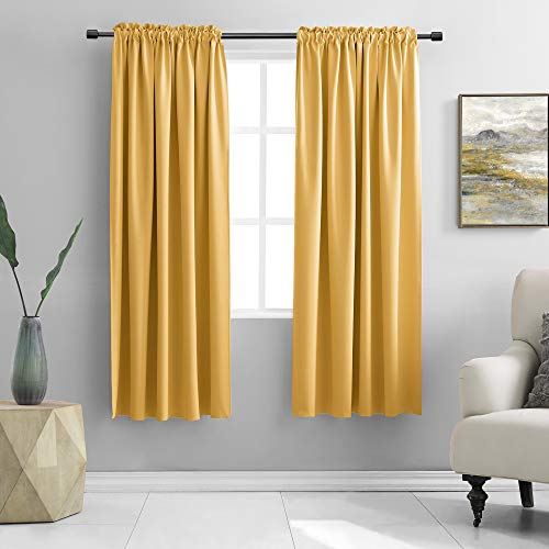 DONREN 72 Inch Length Curtains for Living Room Blackout Curtain Panels with Rod Pocket (Gold Yellow,2 Panels)