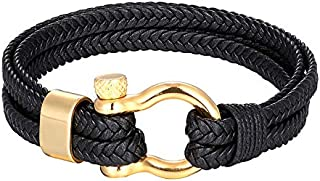 Zealite High Quality Titanium Steel Braided Bracelet Men'S Bracelet Black Personality Multi-Layer Leather Bracelet Female ...