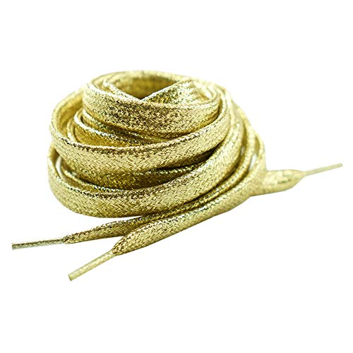 Gold Metallic Glitter Flat shoelaces Colorful Fashion 2 pairs pack for Canvas Sneaker Athletic (54 inch (137 cm), Gold)