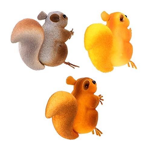 Generic 3 Peças de Espuma Animal Figurinhas Tabletop Decorações Esquilo Esquilo Estátuas Simulado Brinquedos para Suprimentos De Fadas Jardim de Mesa Centerpieces