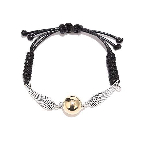 BaubleStar Goldener Schnatz Armband mit Flügeln Glocken Glöckchen Anhänger Leder Kette Geschenk Schmuck für Fans Kinder Fanartikel