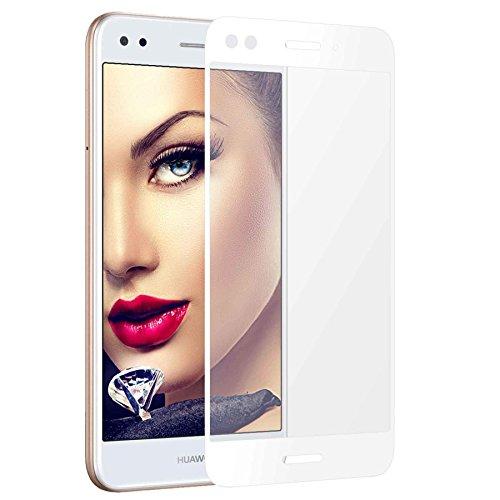 mtb more energy® Gerahmtes Premium Schutzglas für Huawei P9 Lite Mini/Huawei Y6 Pro 2017 (5.0'') - Weiß - Full Face Bildschirm Tempered Glas-Schutzfolie