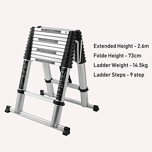 LADDERS Ladder Telescopic Ladders,Heavy Duty Portable Atelescopic Ladder, Multi-Purpose Telescoping Extension Ladder for Engineering Loft, 330Lbs Capacity,2.6M/8.5Ft