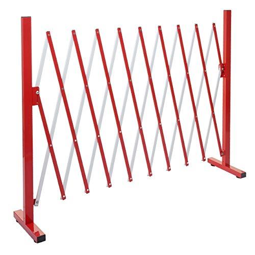 Mendler Absperrgitter HWC-B34, Scherengitter Zaun Schutzgitter ausziehbar, Alu rot-weiß ~ Höhe 103cm, Breite 32-265cm