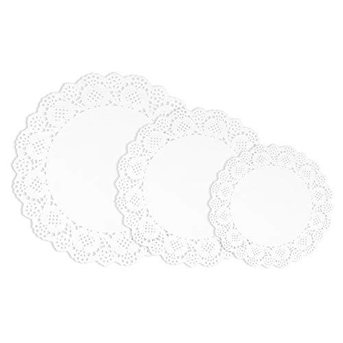 VIPITH 72 blondas de papel de encaje blanco redondo para decoración de fiestas o bodas, 7.5 pulgadas, 8.5 pulgadas, 10.5 pulgadas