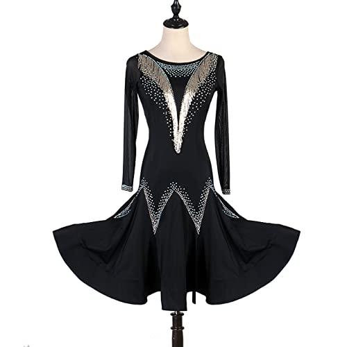 Vestido De Baile Latino Cristales/Rhinestones Transporte De Mujer Rendimiento De Manga Larga,Negro,2XLarge