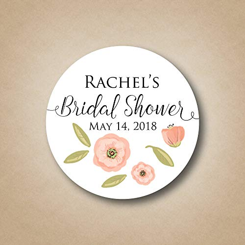 DKISEE 3 PCs Custom Floral Bridal Shower Labels Poppy Flower Wedding Shower Stickers Personalized Shower Favor Tags Watercolor Blush Pink Decoration Idea 4 inches