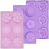 AIDOIT 3 Pack Silicone Soap Molds, 6 Cavity Silicone Flower Soap Mold DIY Soap Molds for Soap Making, Handmade Cake Chocolate Biscuit, Pudding