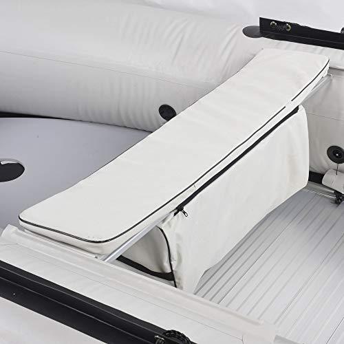 NEMAXX Professional Sitzbanktasche 87 cm mit Polsterauflage für 330 cm Schlauchboot - Sitzbankauflage, Boot Sitzpolster mit Tasche - extra weich - Schlauchboottasche, Stauraumtasche, hellgrau