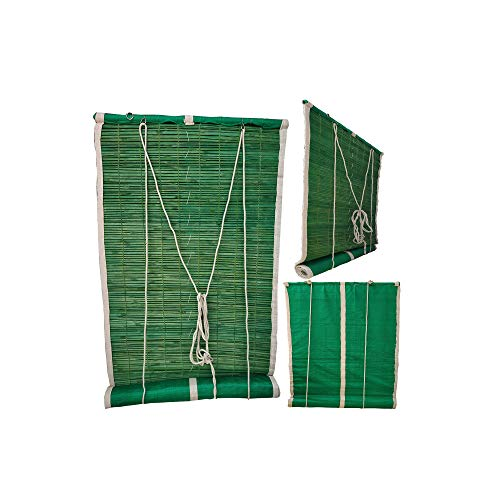 Generic Bamboo Curtains (for Balcony/Windows/Privacy/Sun Shade. with Green Net) Very Easy to Install (3/7 FEET)