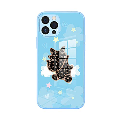 Adecuado para Apple iPhone12 caso de teléfono de cristal pro max todo incluido lindo mascota cubierta protectora azul 1_iPhone7/8 Plus