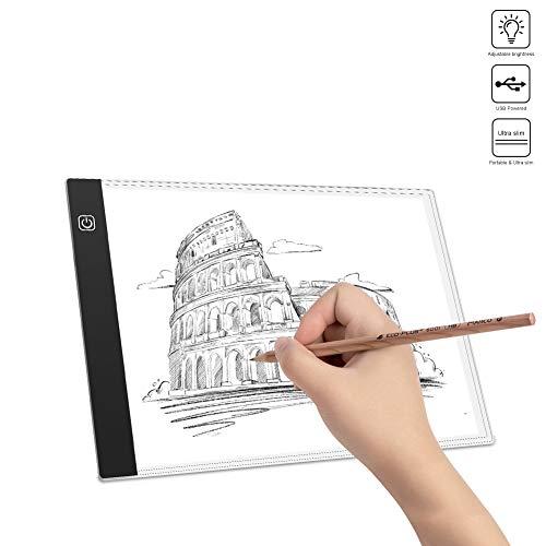 WEYO A4 Mesa de Luz Dibujo para Calcar LED con Cable USB,Tablero de Dibujo Ultradelgado Luminoso,Tabla de Dibujo Atenuación Infinita de Brillo,Muy Adecuado para diseñar,Dibujar y esbozar animaciones