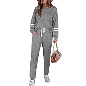 Sweatsuits Sets for Women 2 Piece Lounge Outfits Fall Clothes Grey S