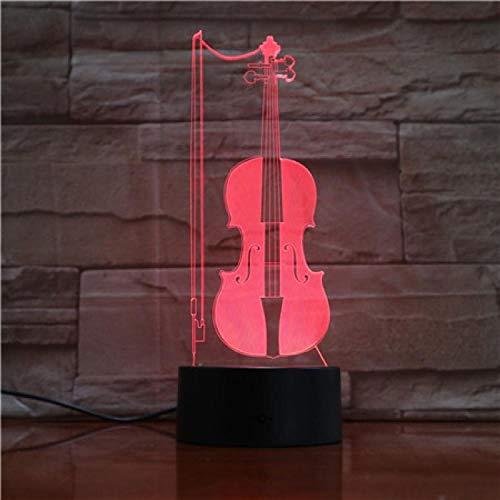 QAQ sterrenhemel 3D nachtlampen voor kinderen viool nachtlamp speelgoed voor jongen 7 LED kleuren veranderen verlichting tafel bureau slaapkamer decoratie speelgoed geschenken