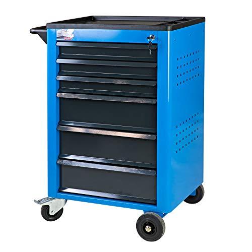 ADB Werkstattwagen Easy Blau mit 6 Schubladen Werkzeugwagen Rollwagen Rollbar
