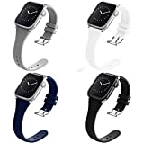 Compatible with Apple Watch Bands 42mm 44mm for Women Men, Adepoy Soft Silicone Narrow Slim Replacement Sport Wristbands for iWatch Series 6 5 4 3 2 1 SE, Large Black Gray Navy White