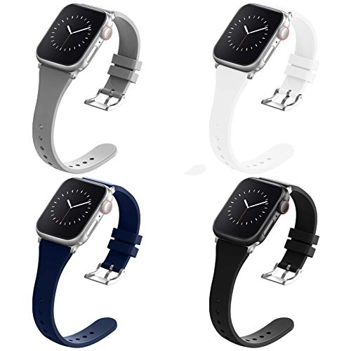 Compatible with Apple Watch Bands 38mm 40mm for Women Men, Adepoy Soft Silicone Narrow Slim Replacement Sport Wristbands for iWatch Series 6 5 4 3 2 1 SE, Small Black Gray Navy White