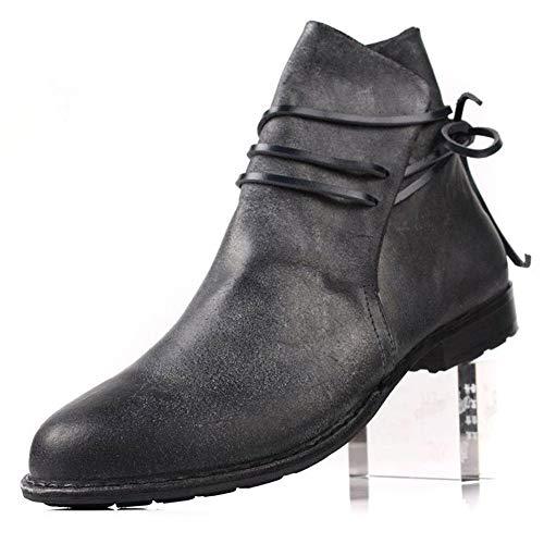 FIESSO Premium Wildleder Echtleder Ankle Boot for Männer Reitstiefel Pull On Style Spitzschuh Block Ferse Volltonfarben Bohemian Style (Color : Schwarz, Größe : 43 EU)
