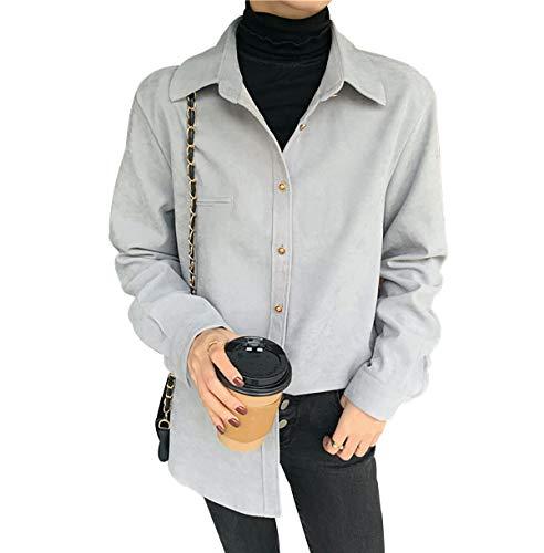 Camisa Mujer Blusas Mujer Invierno Blusa De Fiesta Mujer Camisas Mujer Manga Larga Blusa Blanca Mujer Blusas Mujer Tallas Grandes Body Camisa Mujer Blusas De Vestir De Mujer Gris Azul L