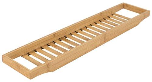 elbmoebel - Portaoggetti per vasca da bagno in bambù con griglia 4x 64x 15cm - Mensola porta sapone o spugna in pregiato legno naturale, vassoio