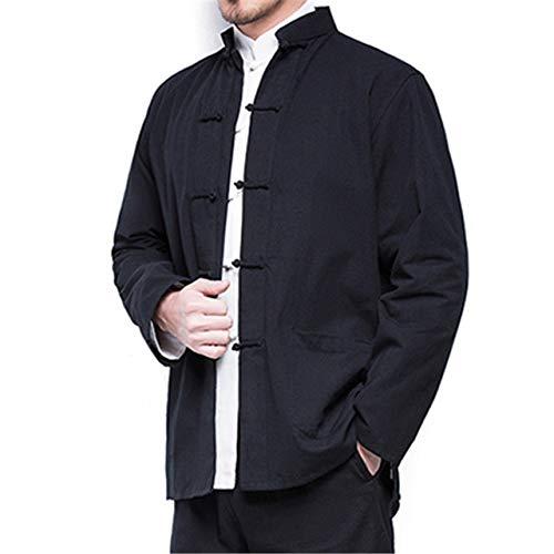 HNOSD Abrigo de Lino de algodón de Estilo Chino de otoño para Hombres nuevos Rebeca de Kimono Suelto Hombres Chaqueta de Abrigo de Lino de Color sólido Abrigos