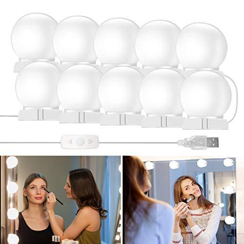 innislink LED Spiegelleuchte, 10led Schminklicht Schminktisch Beleuchtung, Dimmbar Spiegellampe Hollywood Stil Badzimmer lampe, Make up Licht für Schminkspiegel 7000K Kosmetikspiegel Badzimmer lampe