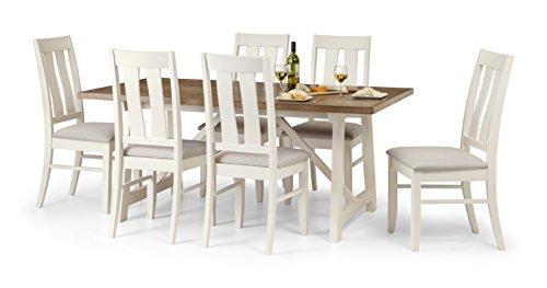 Julian Bowen Pembroke Esstisch und 6Pembroke Stühle, Holz, elfenbeinfarben/Walisischer Eiche