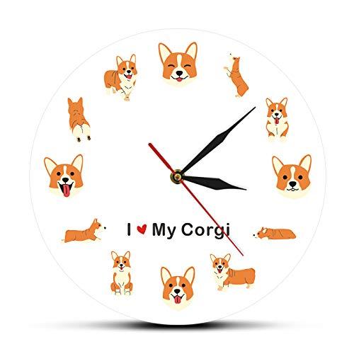 ROMK Reloj de Pared Decoración Amo a mi Corgi Silueta icónica Perro Adorable Reloj de Pared...