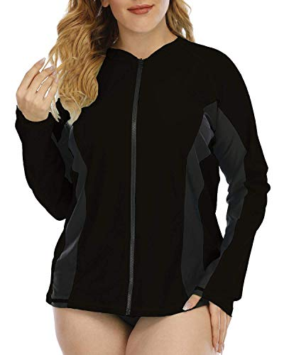 Halcurt Camiseta deportiva de manga larga para mujer con protección UV UPF 50+ con cremallera Negro XXL