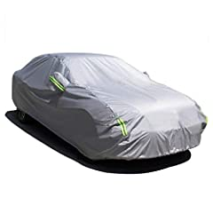 ✅【UPGRADED WATERPROF MATERIAL】210T water resistant high density waterproof material. Sedan cover effectively prevent vehicle from Water troubles. ✅【FEATURE】 1.Adjustable straps and buckle, upgraded two-line sewing prevent car cover blowing off in hea...
