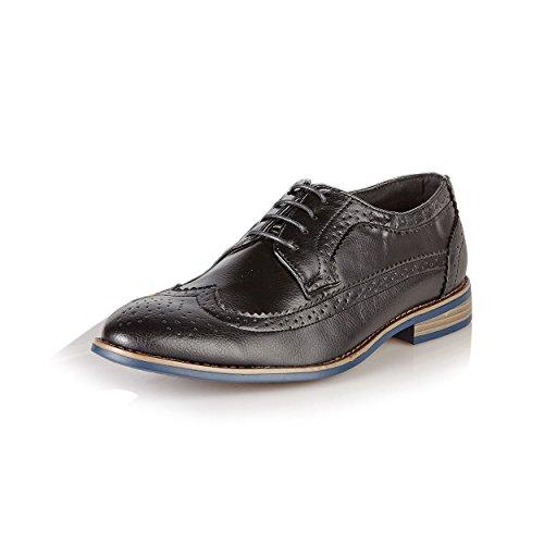 Uomo Stile Italiano Designer Inspired Ufficio Formale Matrimonio Casual Brogue Scarpe, Nero (Black), 12 UK (47)