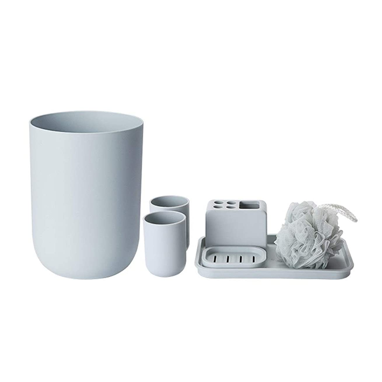 損失シティフェードアウトFXin クリエイティブポリプロピレンバスルームウォッシュセット7個セットゴミ箱収納ボックスバスボール-2色オプション シャワー室 (Color : Gray)