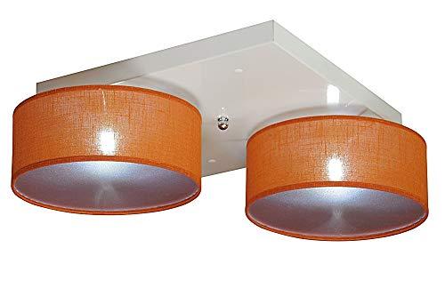 Deckenlampe - Wero Design Malaga-021D (Orange Transparent) - Moderne Deckenleuchte, Leuchte, 2-flammig, Lampe, Kostenlose Glühbirnen, Metall, Stoff, LAMPENSCHIRME MIT BLENDEN
