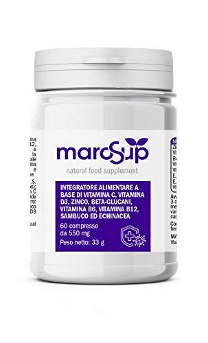 MaroSup Integratore alimentare IMMUNO 60 Compresse 2 Mesi Di Fornitura con Vitamine B6 B12 D3 200 UI Vitamina C Zinco Echinacea Sambuco. Aumenta le tue difese immunitarie Prodotto in Italia