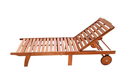 VIFAH V255 Outdoor Wood Single Chaise Lounge