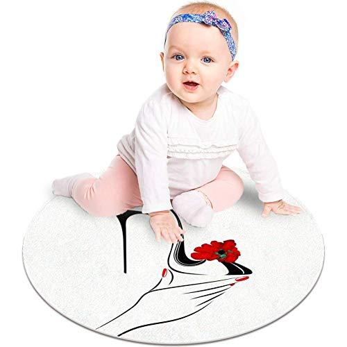 Alfombra de tacón alto con ilustración de flores, antideslizante, 23.6 pulgadas, alfombra redonda para dormitorio de niños, habitación de bebé, sala de juegos, guardería