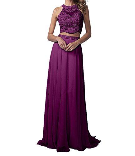 La_Marie Braut Langes Zwei-teilig Perlen Abendkleider Promkleider Partykleider Chiffon A-Linie Rock-38 Hell Traube