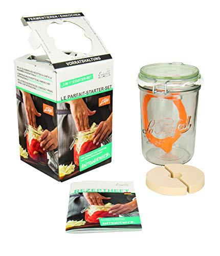 Weck Le Parfait Drahtbügelglas 750 ml (inkl. Gummiring, Glas zum Fermentieren / Einmachen, Einmachglas mit Rezept-Heft) 44839