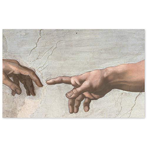 JUNIWORDS Poster, Michelangelo di Lodovico Buonarroti Simoni, Die Erschaffung Adams, Detail Hände, Sixtinische Kapelle, 32 x 20 cm
