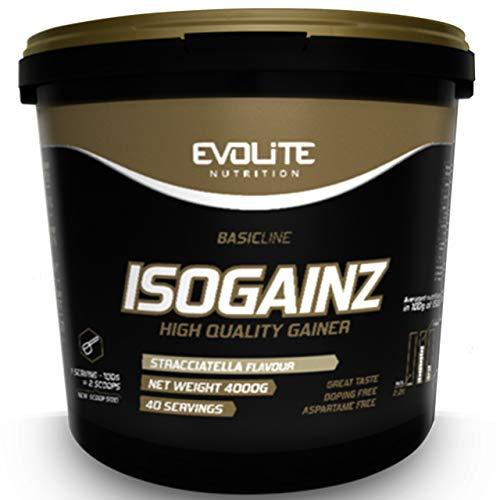 Evolite Nutrition IsoGainz Paquete de 1 x 4000g Gainer - Ganador de Masa - Aumento de Peso – Carbohidratos - Proteína de Suero Aislada y Concentrada (Straciatella)